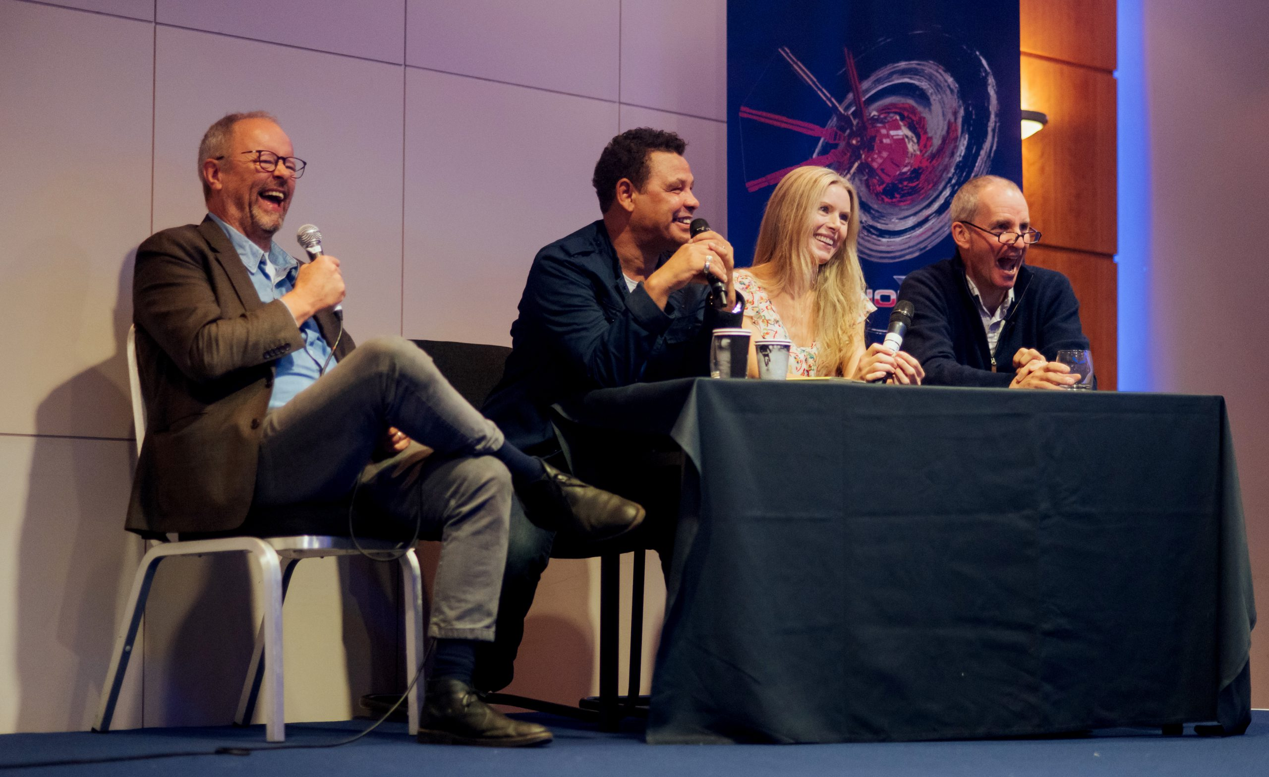 Robert Llewellyn, Craig Charles, Chloë Annett and Chris Barrie on stage for a Q&A at Dimension Jump XX